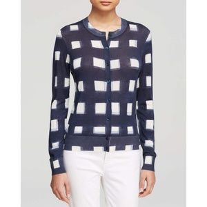 TORY BURCH • Blue Windowpane Print Cardigan